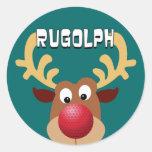 Rugolph The Reindeer Round Sticker