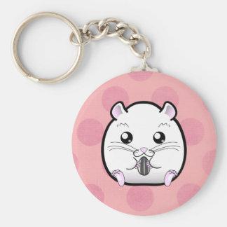 Rugular All White Syrian Hamster Basic Round Button Key Ring