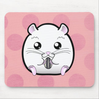 Rugular All White Syrian Hamster Mouse Pad