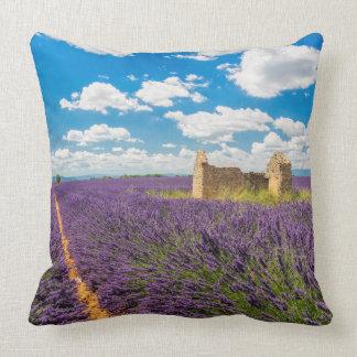 Ruin in Lavender Field, France Cushion