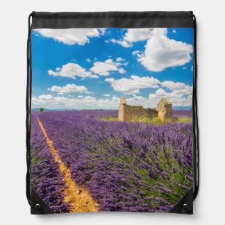 Ruin in Lavender Field, France Drawstring Bag