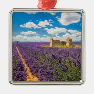 Ruin in Lavender Field, France Silver-Colored Square Decoration