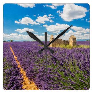 Ruin in Lavender Field, France Square Wall Clock
