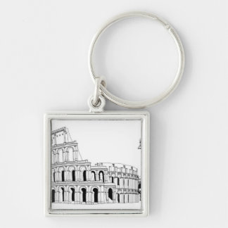 Ruined Amphitheater Silver-Colored Square Key Ring