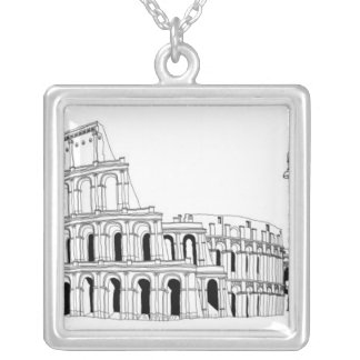 Ruined Amphitheater Silver Plated Necklace