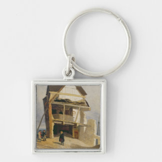 Ruined House, c.1807-10 (oil on millboard mounted Silver-Colored Square Key Ring