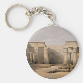 Ruins at Medinet Abou, Thebes, Egypt Basic Round Button Key Ring