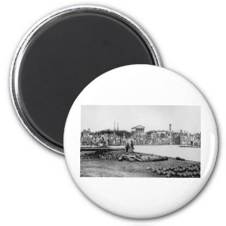 Ruins in front of the Capitol in Richmond, 1865 6 Cm Round Magnet
