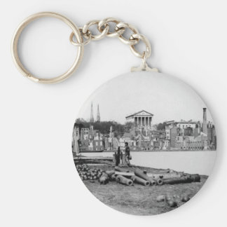 Ruins in front of the Capitol in Richmond, 1865 Basic Round Button Key Ring