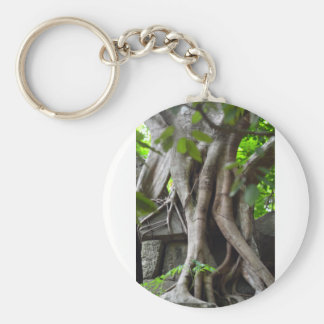 Ruins of a temple lost in a lush jungle basic round button key ring