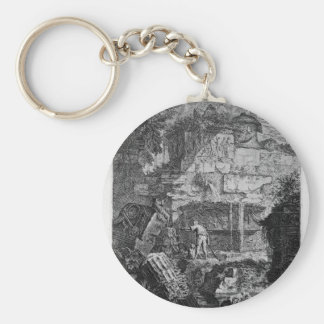 Ruins of an ancient tomb placed before other ruins basic round button key ring