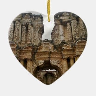 Ruins of Antigua Guatemala Ceramic Heart Decoration