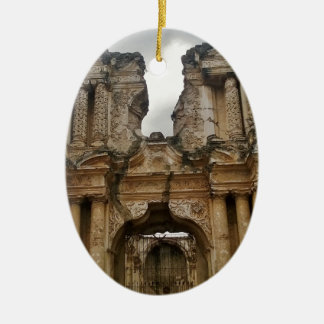 Ruins of Antigua Guatemala Ceramic Oval Decoration