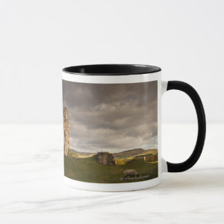 Ruins Of Cessford Castle With Sheep Grazing Mug