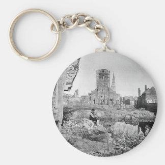 Ruins of Charleston South Carolina 1865 Basic Round Button Key Ring
