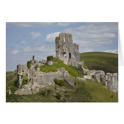 Ruins of Corfe Castle, near Wareham, Dorset, Greeting Card