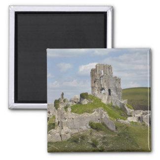 Ruins of Corfe Castle, near Wareham, Dorset, Square Magnet