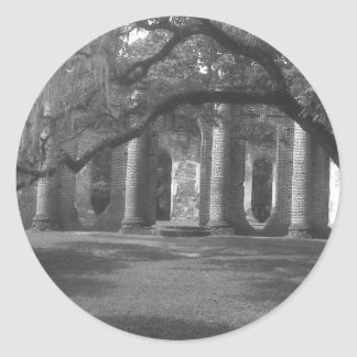Ruins of Old Sheldon Church in Yemassee, SC Round Sticker