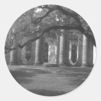 Ruins of Old Sheldon Church in Yemassee, SC Round Sticker