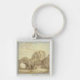 Ruins of Pevensey Castle (w/c on paper) Silver-Colored Square Key Ring