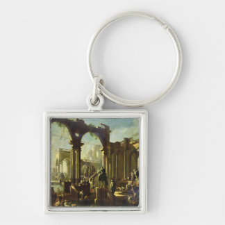 Ruins of the Baths of Caracalla Silver-Colored Square Key Ring