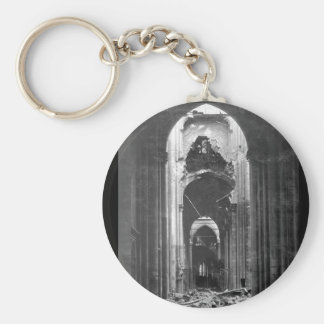 Ruins of the Cathedral of St. Quentin_War Image Basic Round Button Key Ring
