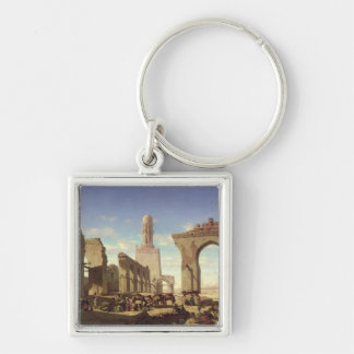 Ruins of the Mosque of the Caliph El Haken Silver-Colored Square Key Ring