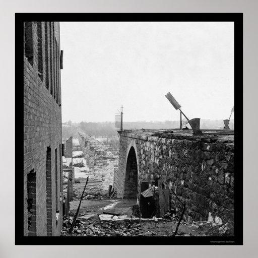Ruins of the Richmond & Petersburg Bridge 1865 Poster