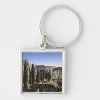 Ruins of the Roman Colosseum from Il Palatino, Silver-Colored Square Key Ring