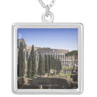 Ruins of the Roman Colosseum from Il Palatino, Silver Plated Necklace