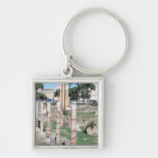 Ruins of the Temple of Castor and Pollux, Italy Silver-Colored Square Key Ring