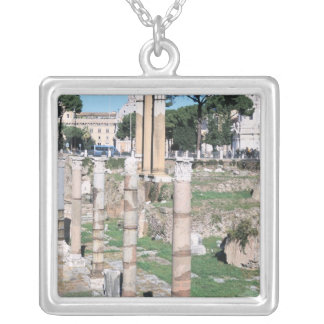 Ruins of the Temple of Castor and Pollux, Italy Silver Plated Necklace