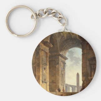 Ruins with an obelisk in the distance by Hubert Basic Round Button Key Ring