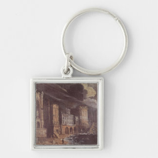 Ruins with the Legend of St. Augustine (oil on can Key Chain
