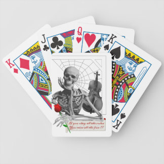Rule Breaking Skeleton with Rose and Violin. Bicycle Playing Cards