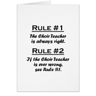 Rule Choir Teacher Note Card