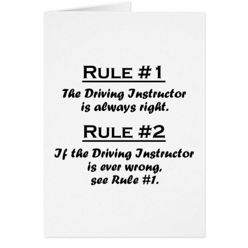 Rule Driving Instructor Card