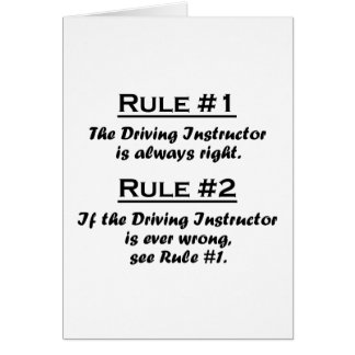 Rule Driving Instructor Note Card