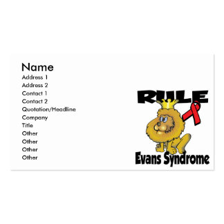 Rule Evans Syndrome Business Card Templates