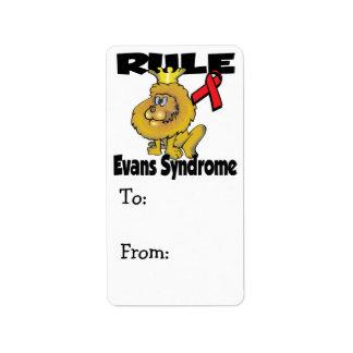 Rule Evans Syndrome Address Label