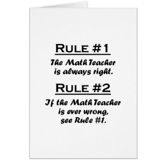 Rule Math Teacher Card