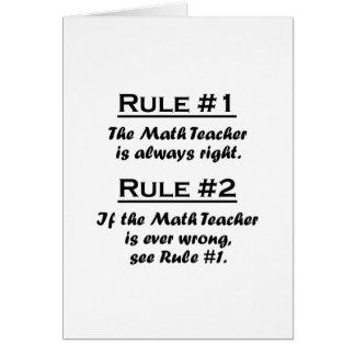 Rule Math Teacher Note Card