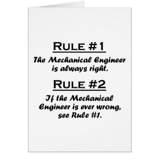 Rule Mechanical Engineer Note Card