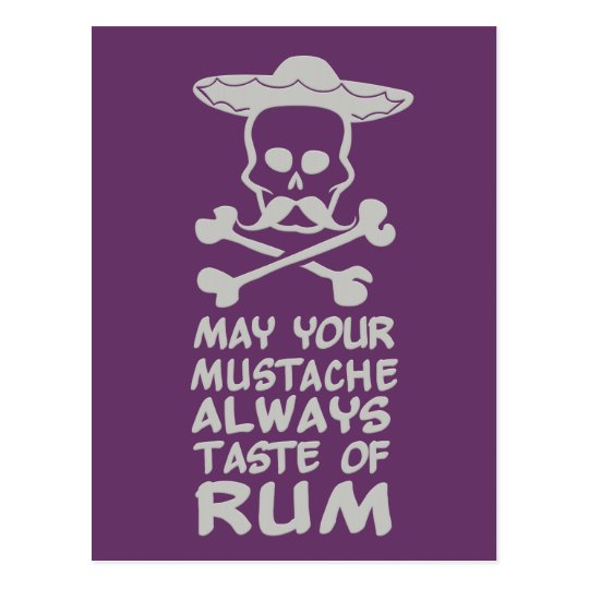 Rum Mustache custom color postcard