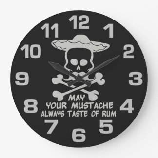 Rum Mustache custom color wall clock