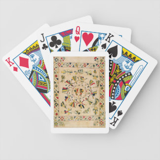 Rumal: square embroidery cover showing Punjabi dan Bicycle Playing Cards