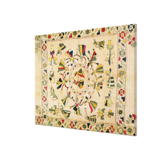 Rumal: square embroidery cover showing Punjabi dan Stretched Canvas Print