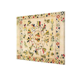 Rumal: square embroidery cover showing Punjabi dan Canvas Prints