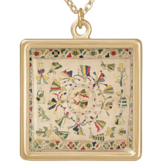 Rumal: square embroidery cover showing Punjabi dan Gold Plated Necklace