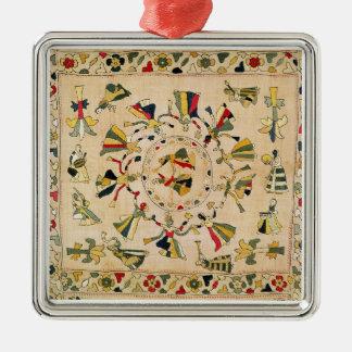 Rumal: square embroidery cover showing Punjabi dan Silver-Colored Square Decoration